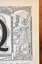 "Load image into Gallery viewer, Antique Letter Q Lithograph - 11""x7.25"" - 1920s Larousse - Printed in Paris, France - Universal Print - Letters of the Alphabet"
