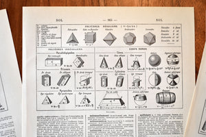"Antique Shape Prints - Set of 3 Prints - 1920s Larousse - 11""x7.25"" - Universal Prints - France"