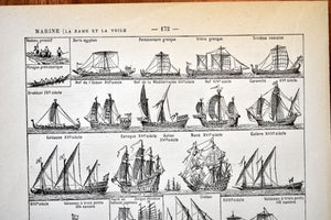 "Antique Boat and Ship Lithographs - 11.5""x7.25"" - Set of 2 Prints - 1920s Larousse - French Lithograph - Printed in Paris, France"