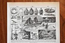 "Load image into Gallery viewer, Antique Rescuer/Lifeguard Lithograph - 11.5""x7.25"" - 1920s Larousse - French Lithograph - Printed in Paris, France"