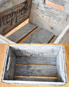 Schweppes Soda Crate - Antique Wooden Crate - Towel Box - Decorative Box - Wood Crate - Vintage Crates - Made in Canada - L2