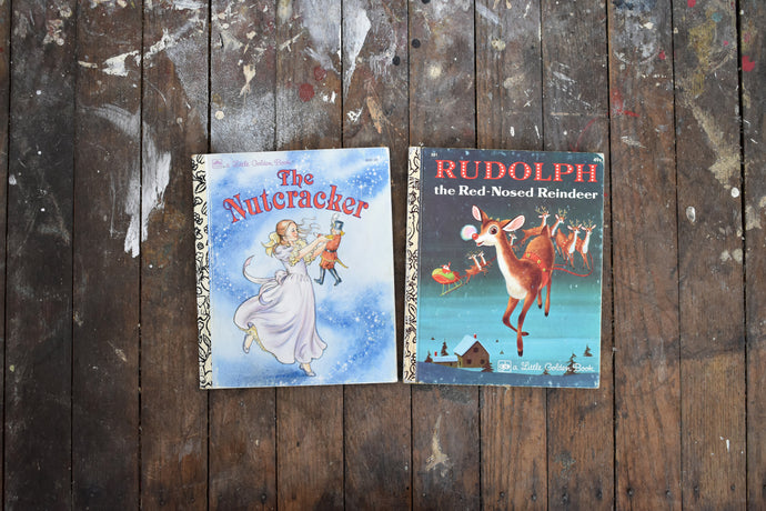 Little Golden Books - Hardcover Childrens Books - The Nutcracker & Rudolph the Red Nosed Reindeer - Printed in the USA - 1974