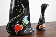 Load image into Gallery viewer, Vintage Ceramic Floral Dog Statues - Set of 2 Statues - Painted Ceramic Figurines