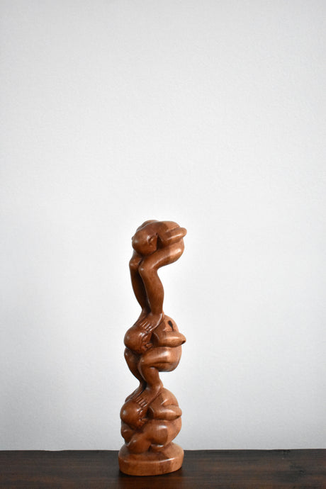 Vintage Wooden Statue - Weight of the World - Handmade Wooden Statue