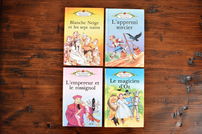 Vintage Childrens Books - Mes Contes Préférés - Set of 4 Hardcovers - French Childrens Books - Printed in England