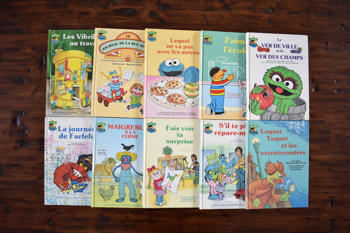 Sesame Street Children's Books - Set of 10 Hardcover - Club du Livre Sesame - French Language - Printed in the USA - 1980s