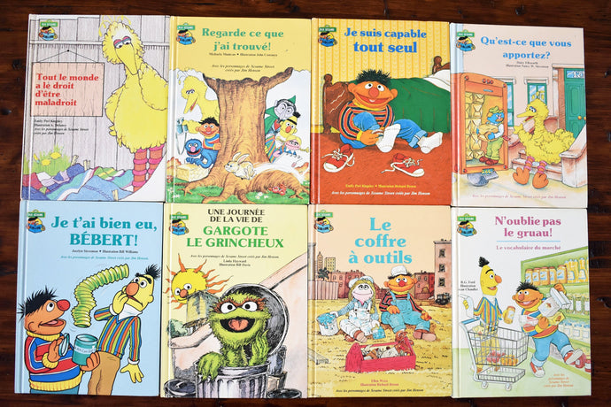 Sesame Street Children's Books - Set of 8 Hardcover - Club du Livre Sesame - French Language - Printed in the USA - 1980s