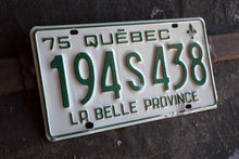 Load image into Gallery viewer, 1975 Quebec License Plate - 194S438 - Vintage Automobile ID - Wall Hanging - Industrial Decor -  Canadian Provinces