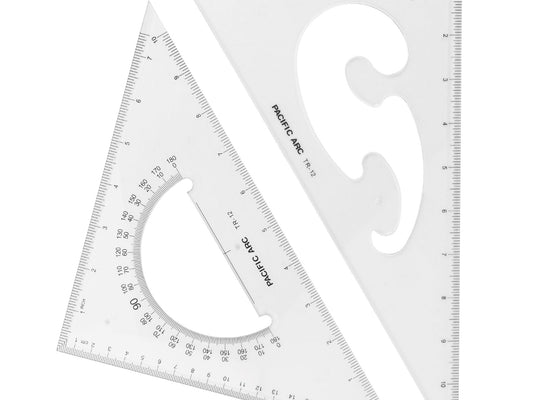 Pacific Arc clear triangle Acrylic Triangle (Scholastic Set of Two): 1 ea 30/60/90 & 45/90 Degrees TR-12W