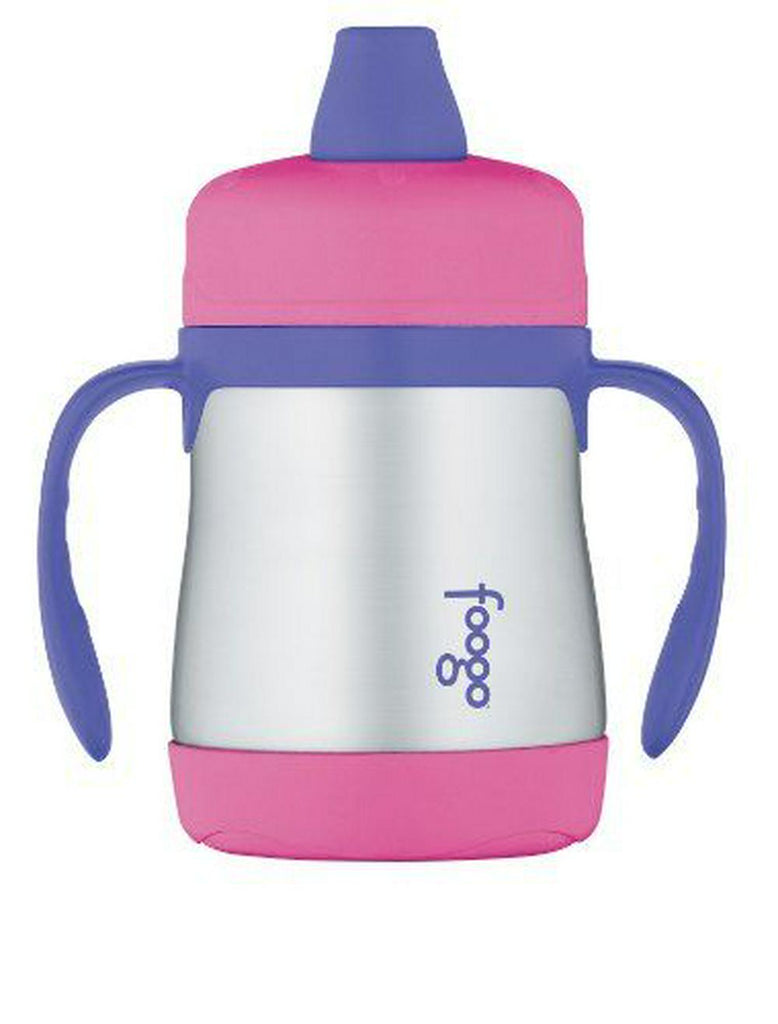 Thermos Foogo Vacuum Insulated Stainless Steel Soft Spout Sippy Cup with Handles (Pink/Purple) - 207mL 207mL Pink/Purple
