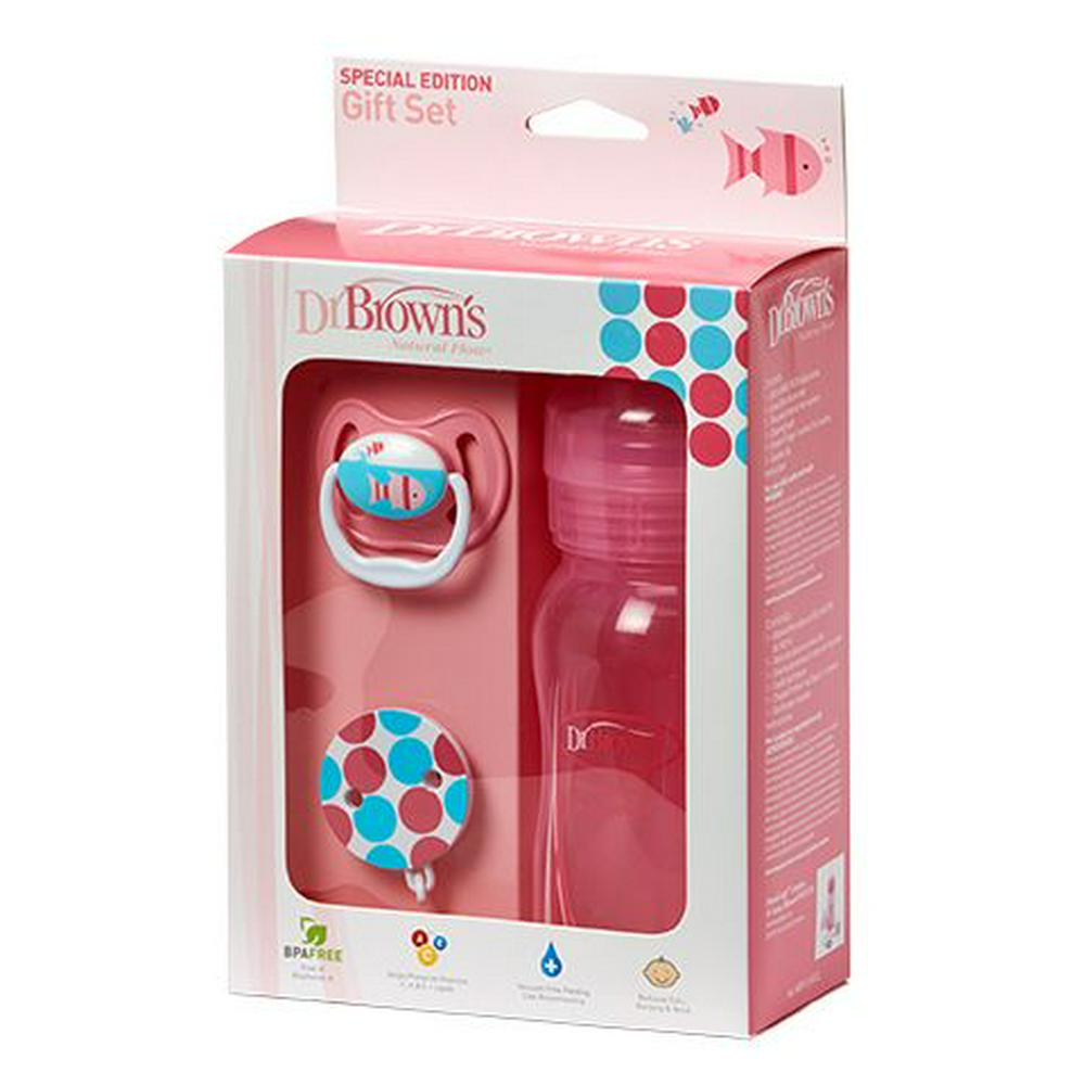 Dr. Brown's Bottle & Pacifier & Clip Gift Set 240mL Pink