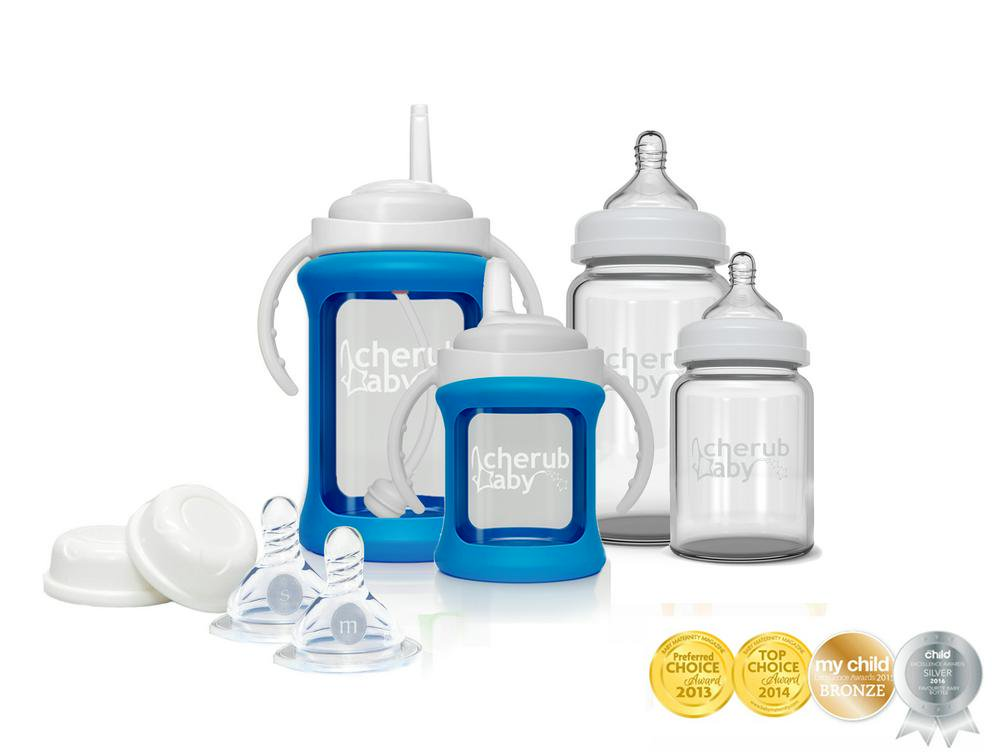 Cherub Baby Glass Bottle Starter Kit - Blue Blue