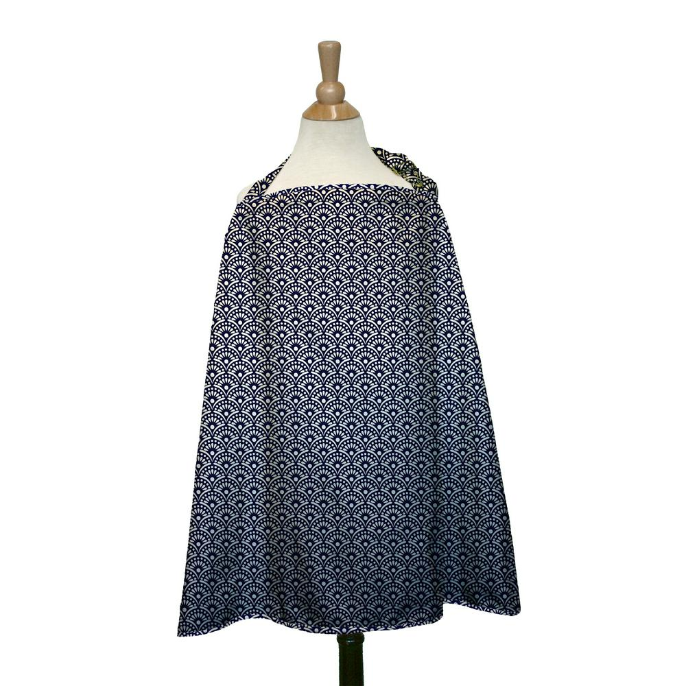 The Peanut Shell Nursing Cover 36 x 26 Inches Navy Scallop