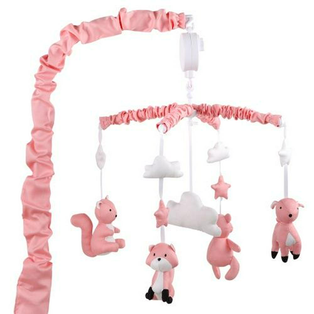 The Peanut Shell Woodland Musical Mobile - Coral Coral