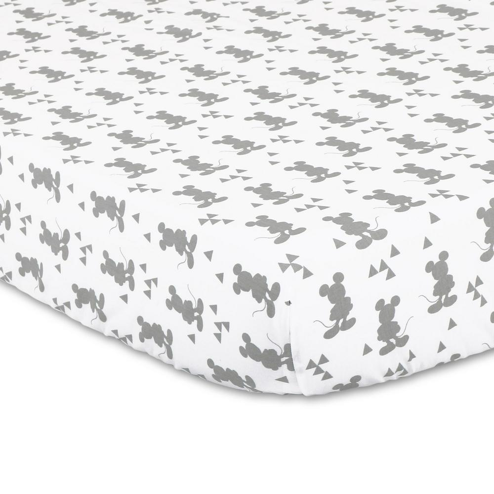 Disney Baby Geo Mickey Fitted Sheet 132 x 77 x 19 cm Silhouette