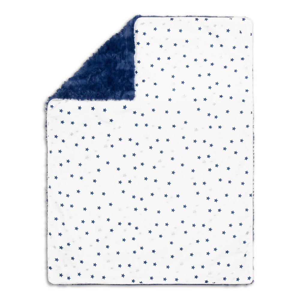 The Peanut Shell Baby Blanket 76 x 101cm Navy Stars
