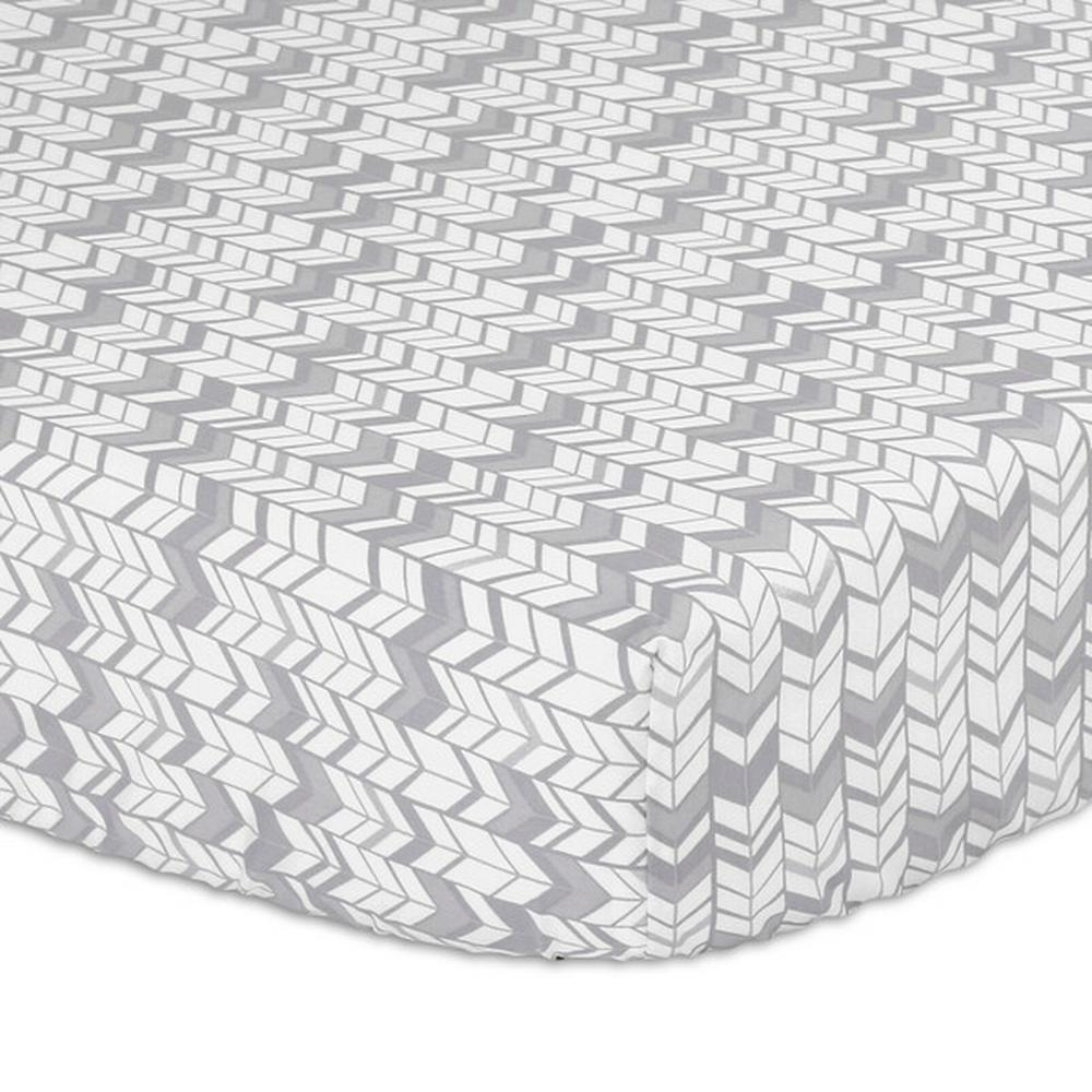 The Peanut Shell Bassinet Fitted Sheets Bassinet Silver Herringbone