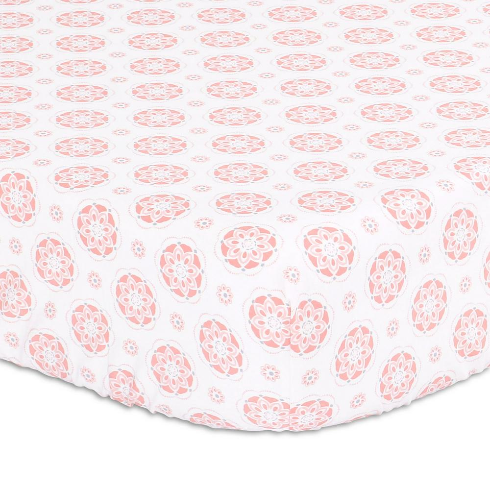 The Peanut Shell Cot Sheet 132 x 77 x 19cm Light Coral Floral