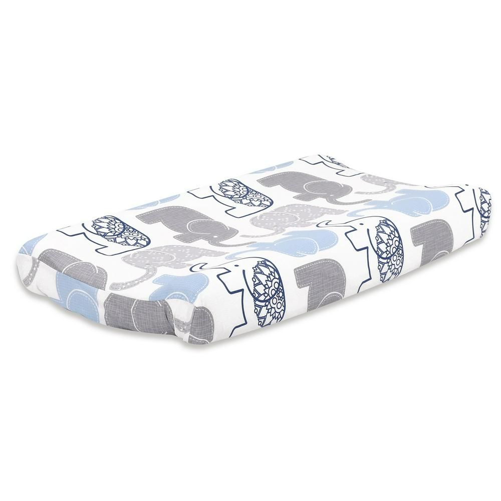 The Peanut Shell Change Pad Cover, Standard 81 x 40 x 14cm Navy Elephant