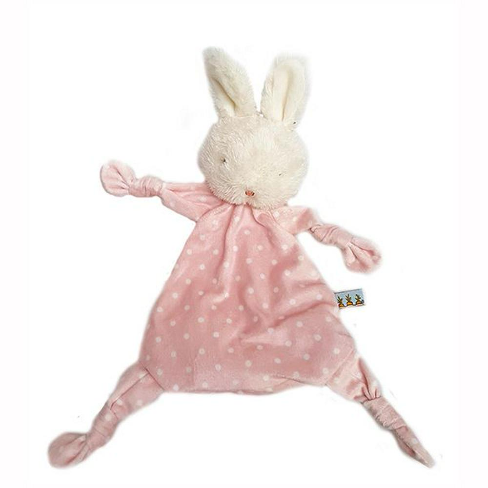 Bunnies By The Bay Blossom Knotty Teether Blankie 25cm Pink/Cream Polka Dots