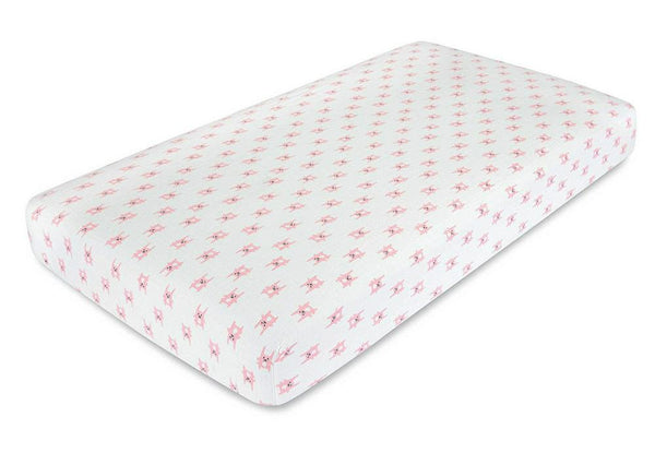 aden + anais Flannel Muslin Fitted Cot Sheet 71 x 132cm Bunny Pink