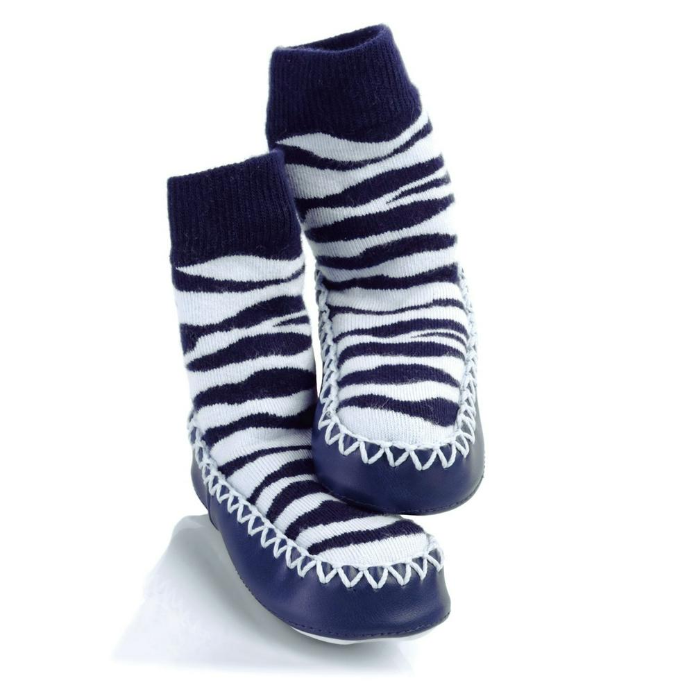 Sock Ons Mocc Ons Kids Slipper Socks 18 Months - 2 Years Zebra