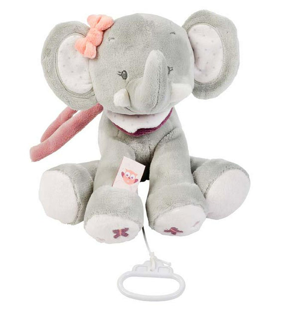 Nattou Adele & Valentine Collection - Musical Plush Toy 28 x 25cm Adele The Elephant