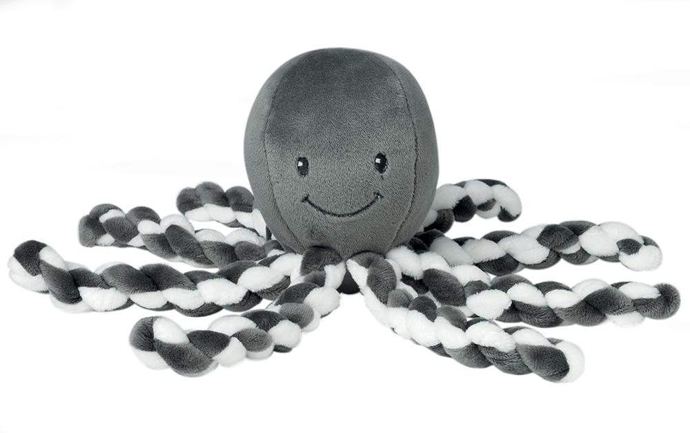 Nattou Lapidou Collection - Cuddly Octopus Plush 23cm White/grey