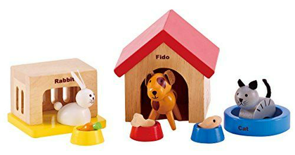 Hape All Seasons Wooden Dollhouse Furniture: Family Pet Set 12 Pieces Multi