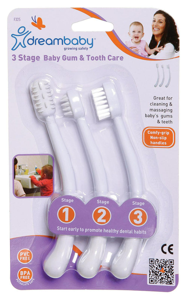 Dreambaby 3 Stage Toothbrush Set White