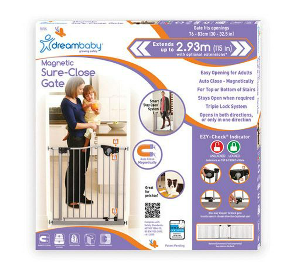 Dreambaby Magnetic Sure-Close Safety Gate 76-83cm (W) Silver