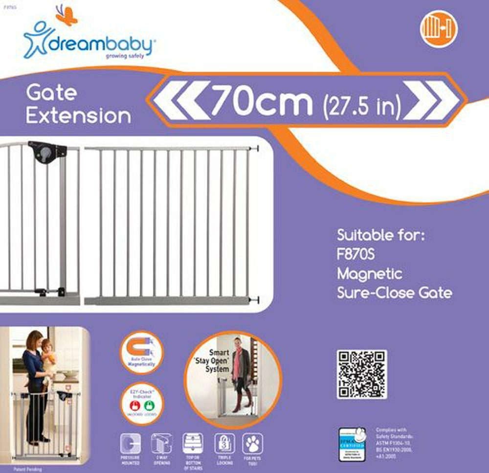 Dreambaby Empire Magnetic Sure-Close Safety Gate Extension - 70cm 70cm Silver