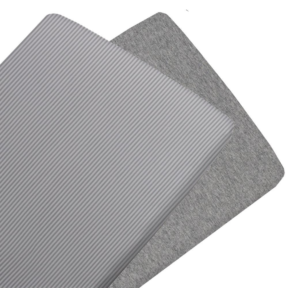 Living Textiles Jersey Cradle Fitted Sheet - 2 Pack 47 x 92 x 12cm Grey Stripe/Melange
