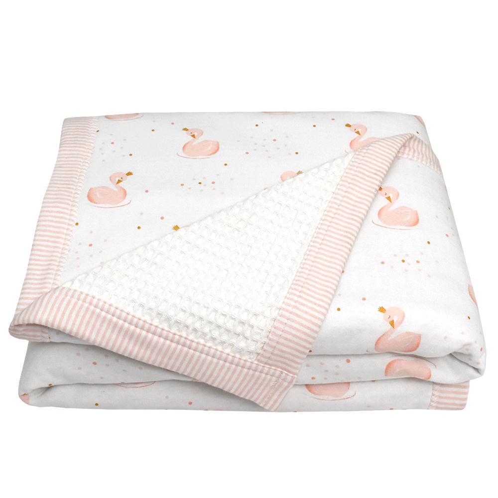 Living Textiles Cot Waffle Blanket 110 x 120 cm Swan Princess