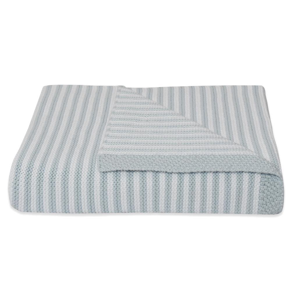 Living Textiles Knitted Stripe Blanket Blue/White