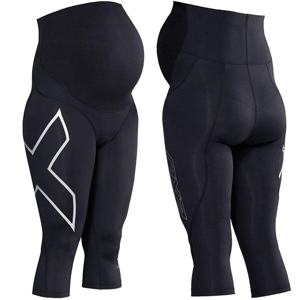 2XU Prenatal Active 3/4 Tights - Small Black/Silver Small