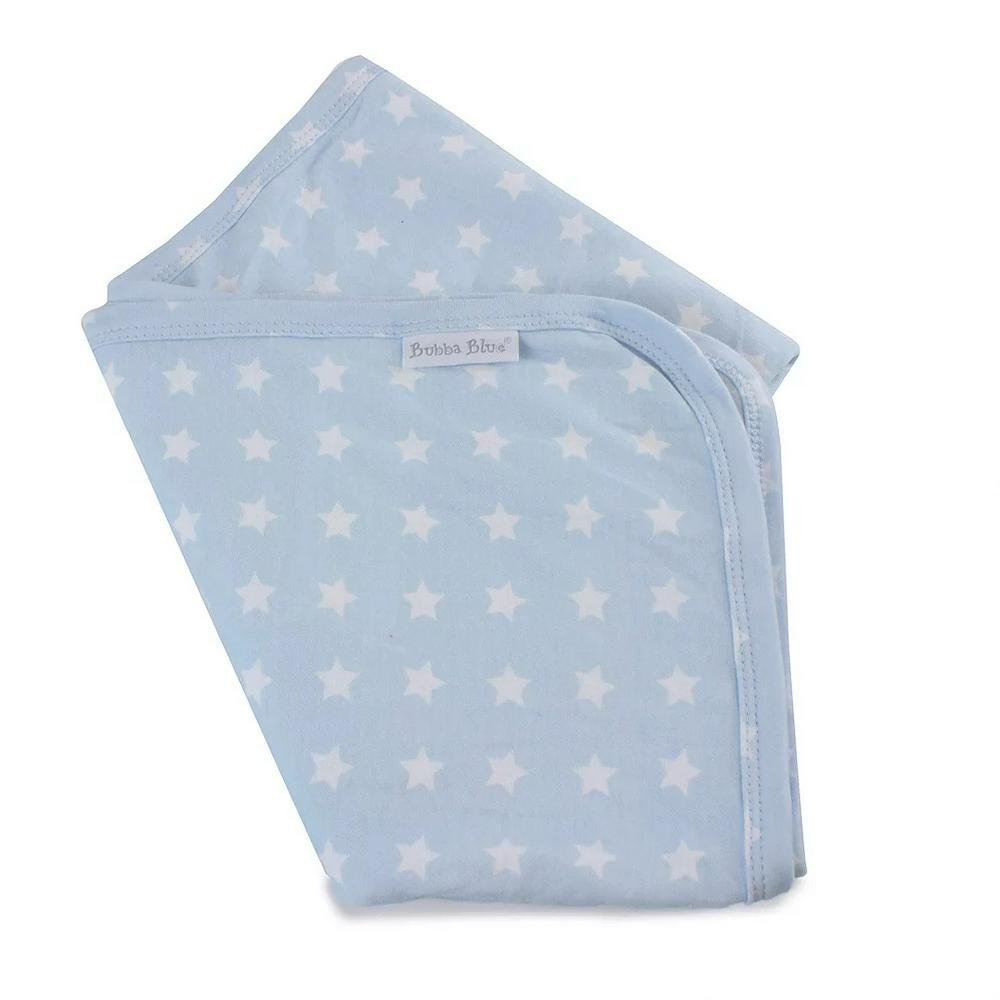 Bubba Blue Everyday Essentials - Jersey Swaddle Wrap 80x80cm Blue with White Stars