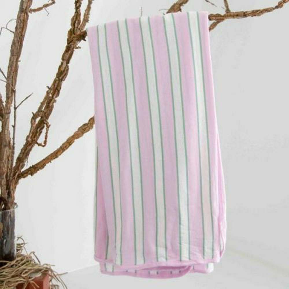 L'il Fraser Indiana Cotton Jersey Stretch Wrap 120cm x 120cm - Pink, White And Sage Stripe Default Title