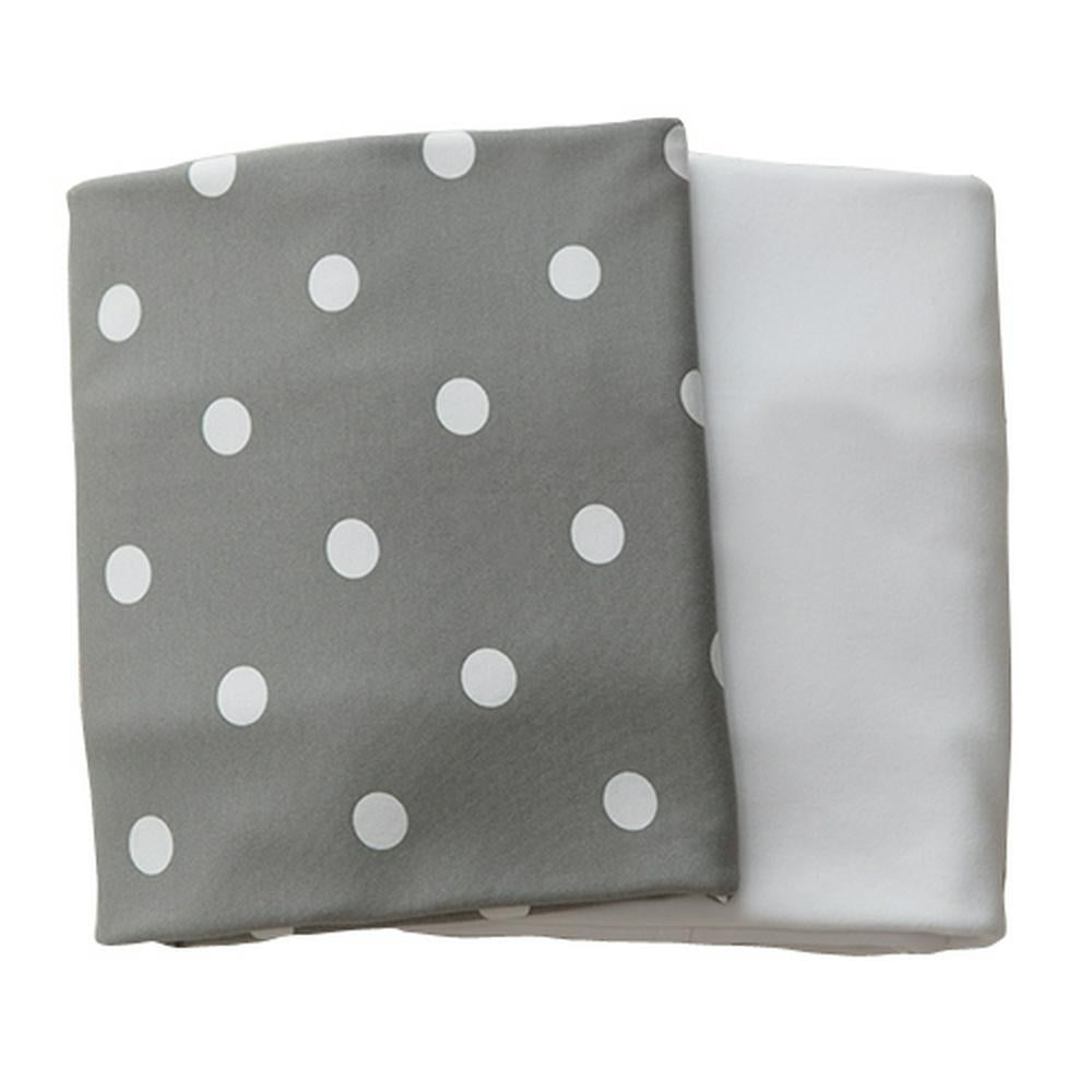 L'il Fraser Fitted Cot Sheet - Set of 2 77 x 132 x 19cm Grey Polkadot/White