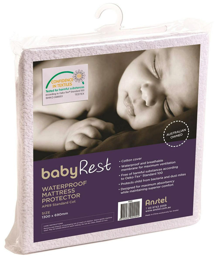 BabyRest Waterproof Cot Mattress Protector - 1300 x 690 x 10mm 1300 x 690 x 10mm