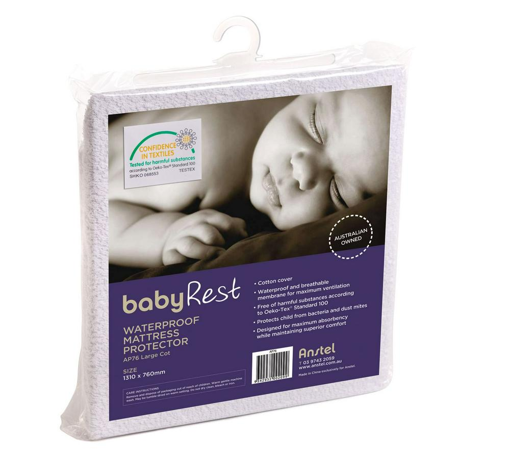 BabyRest Waterproof Cot Mattress Protector - 1310 x 760 x 10mm 1310 x 760 x 10mm