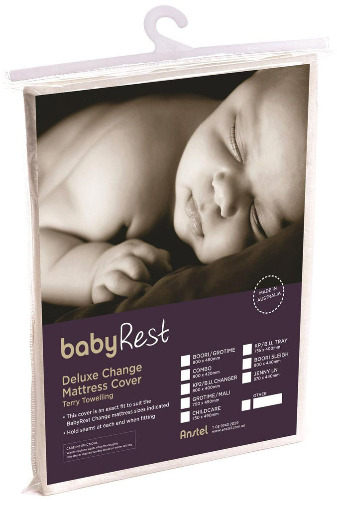 BabyRest Deluxe Towelling Change Mattress Cover Boori Sleigh (Beige) - 800 x 440 x 75mm 800 x 440 x 75mm Beige