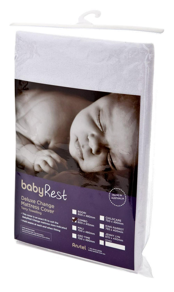 BabyRest Deluxe Towelling Change Mattress Cover Childcare (White) - 750 x 490 x 100mm 750 x 490 x 100mm White