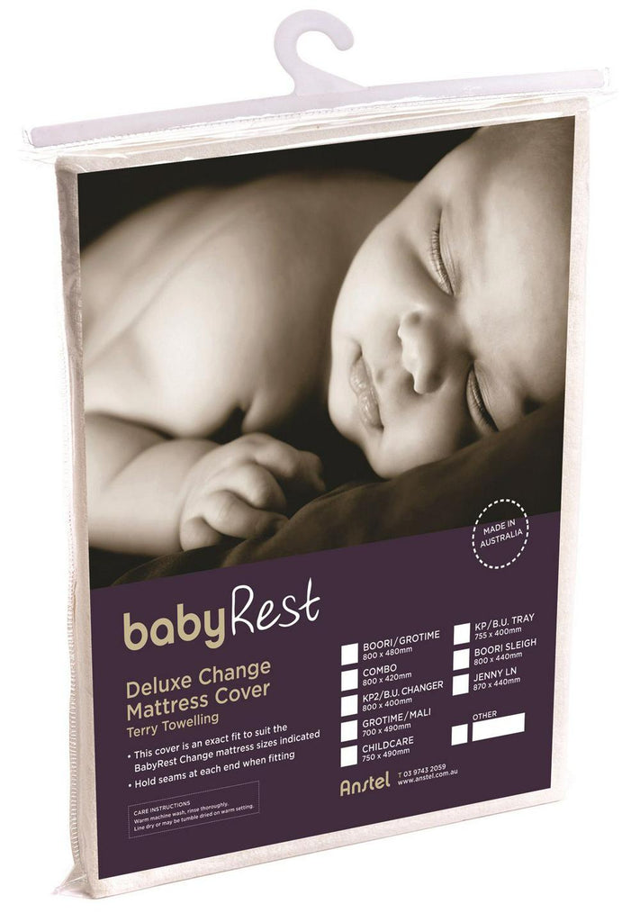 BabyRest Deluxe Towelling Change Mattress Cover King Parrot (Beige) - 755 x 400 x 90mm 755 x 400 x 90mm Beige