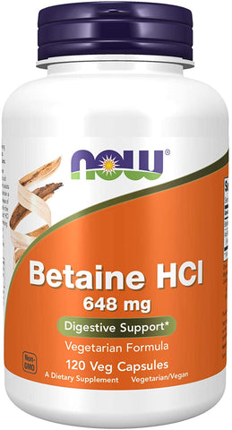 NOW Foods: Betaine HCL 648mg (120 Veg. Caps), vitamins, supplements - molecularevolutions.