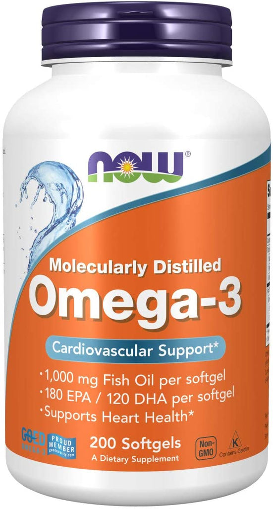 NOW Foods: Omega - 3, Molecularly Distilled (200 Softgels), vitamins, supplements - molecularevolutions