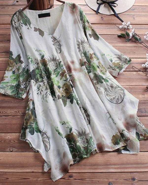 Summer V Neck Casual Floral Printed Plus Size Blouse herhershoes