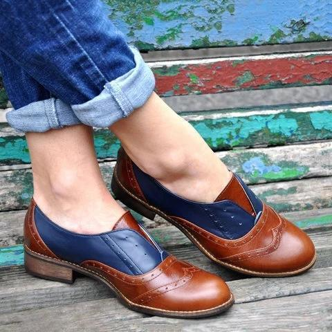 Plus Size Color Block Oxford Shoes Casual PU Slip On Loafers herhershoes