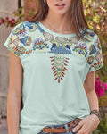 Daily Short Sleeve Printed Round Neck Blouse herhershoes