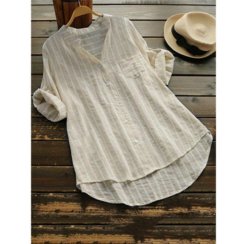 Casual 3/4 Sleeve Stripes Linen Shirts Tops herhershoes